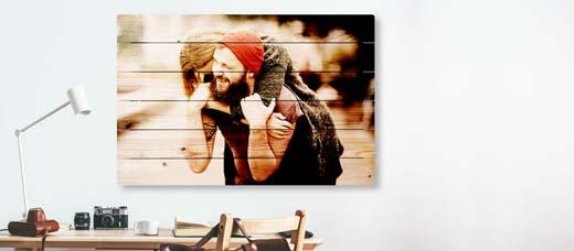 foto afgedrukt op bijvoorbeeld hout of plexiglas