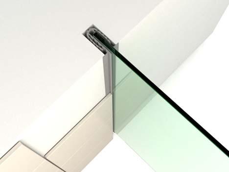 Glasplaat Douche Plaatsen : Onzichtbaar muur en plafondprofiel houdt doucheglas stevig vast