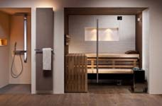 de moderne sauna past ook in de badkamer. Black Bedroom Furniture Sets. Home Design Ideas