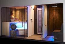 Wellness Wand verenigt sauna, stoombad en douche