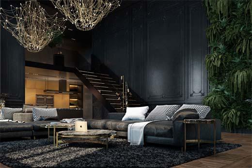 Donker modern interieur