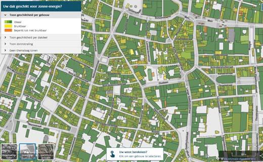 Zonnekaart toont hoe geschikt uw dak is voor zonnepanelen