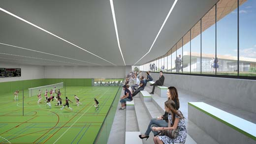 Winnend ontwerp voor landschappelijk sportgebouw in Kerkrade