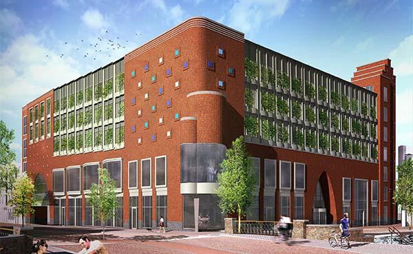 Transparante bibliotheek met bovengrondse parkeergarage