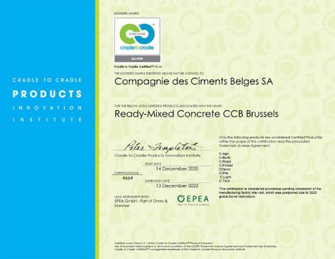 CCB Beton Brussel behaalt het Cradle to Cradle Silver certificaat