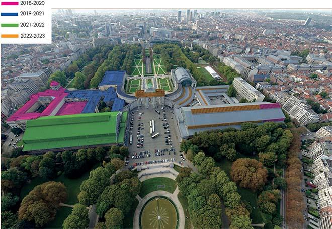De Regie der Gebouwen vernieuwt de daken van Autoworld in het Brusselse Jubelpark